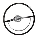Steering Wheel With Deluxe Half Moon Satin Horn Ring 66-73