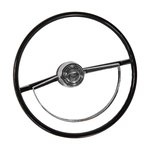 Steering Wheel With Deluxe Half Moon Chrome Horn Ring 66-73