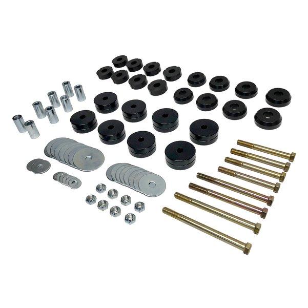 Billet Aluminum 1-Inch Deluxe Body Lift With Mounts Black