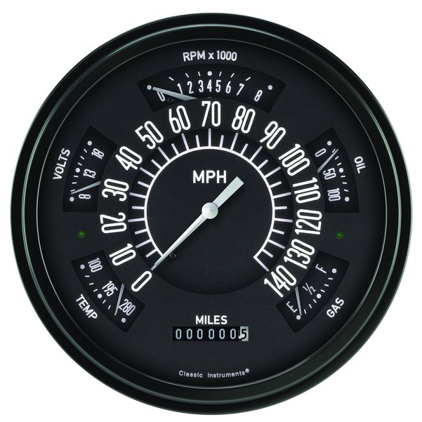 Classic Instruments Electronic Gauge Cluster black/white 66-77 Bronco / 61-66 Pickup