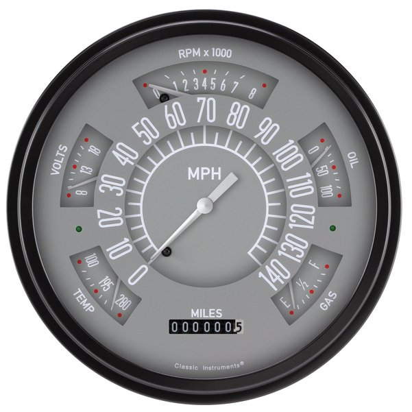 Classic Instruments Electronic Gauge Cluster grey/white 66-77 Bronco / 61-66 Pickup