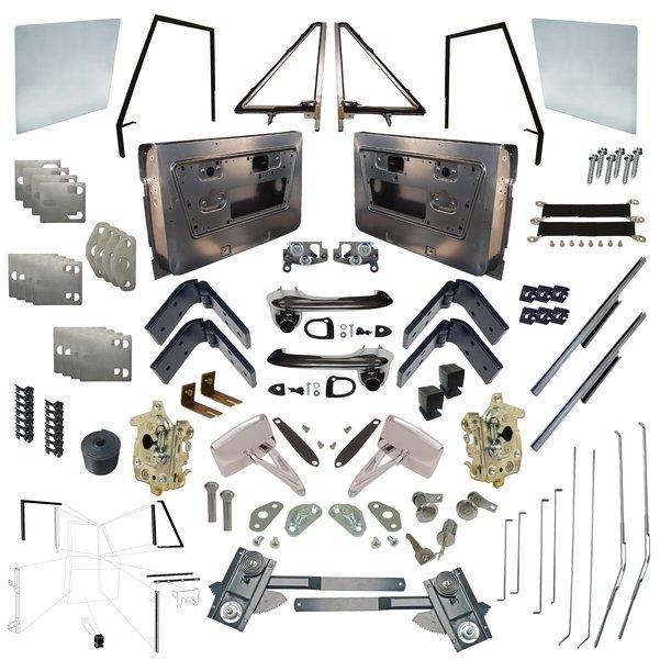 Master Driver & Passenger Door Kit 68-77 Sheet Metal/Glass/Attachments